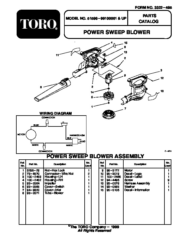 Toro 51586 Power Sweep Blower Manual, 1999