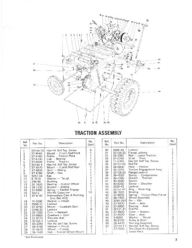 Toro 38035 3521 Snowblower Parts Catalog, 1987
