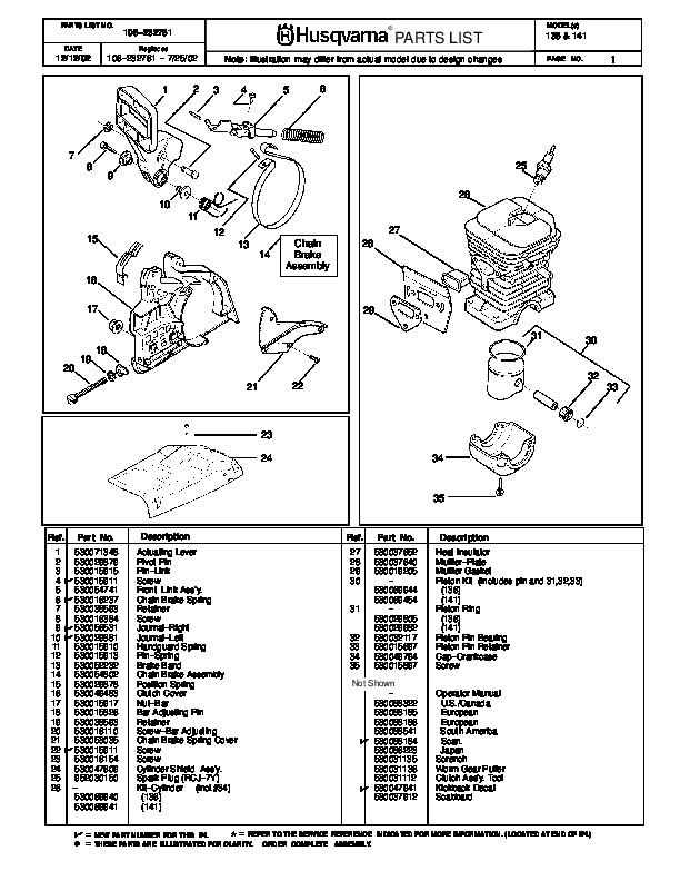 Husqvarna 136 141 Chainsaw Parts Manual