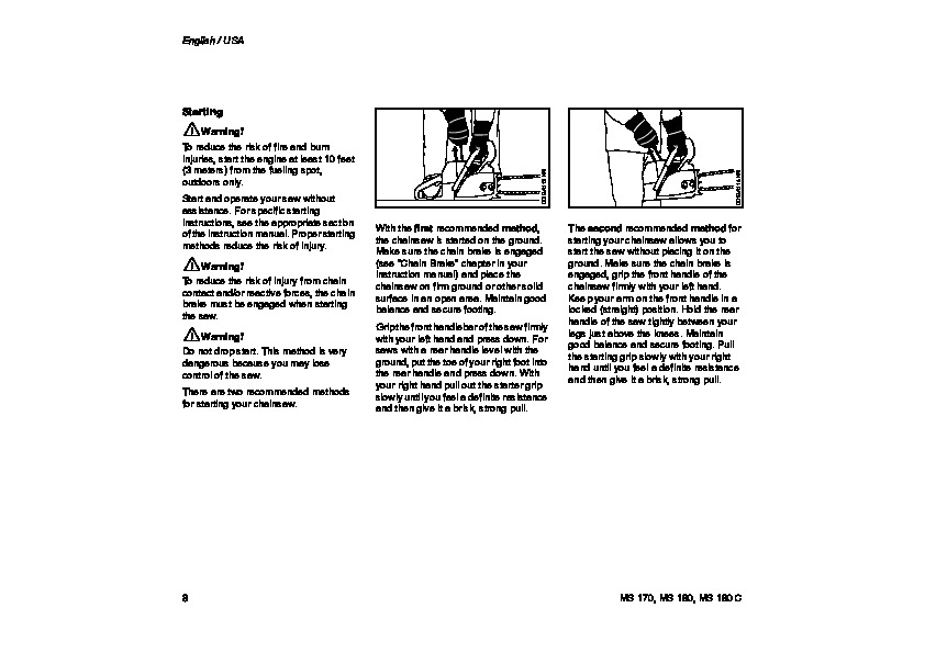 STIHL MS 170 180 Chainsaw Owners Manual