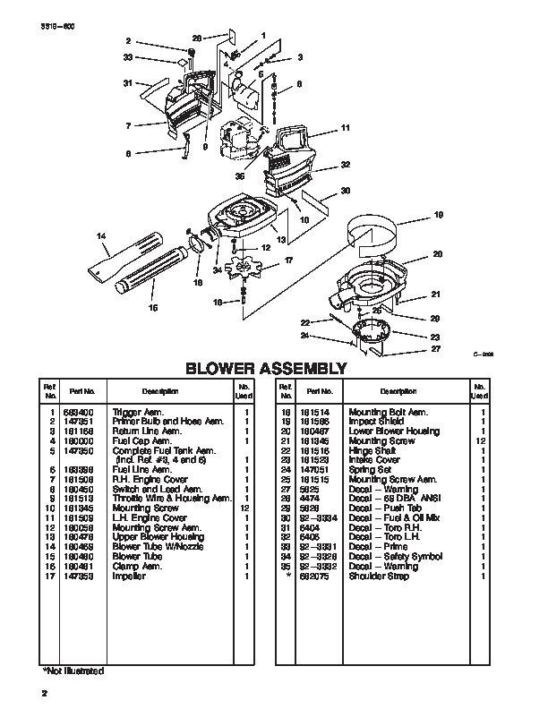 Toro 62902 31cc Blower Vacuum Parts Catalog, 1997