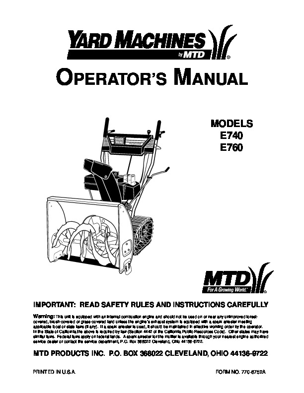 MTD Yard Machines E740 E760 Snow Blower Owners Manual