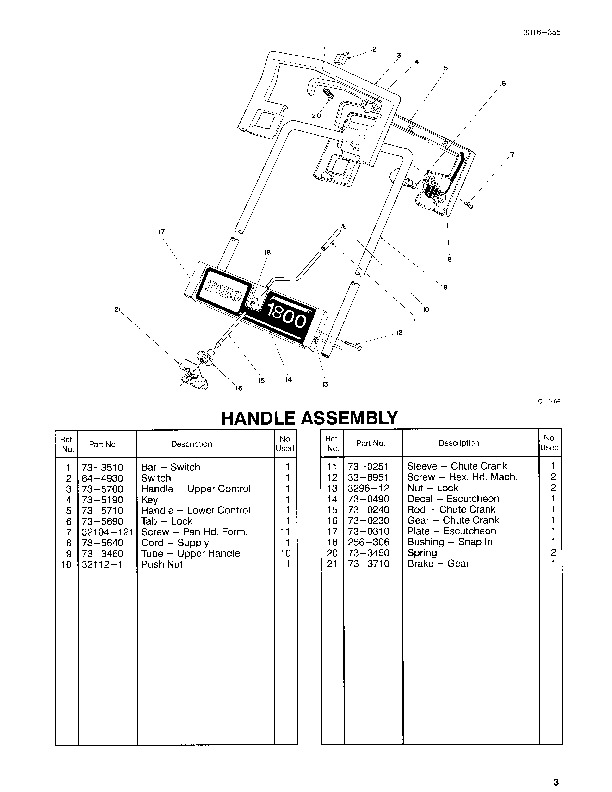 Toro 38025 1800 Power Curve Snowblower Parts Catalog, 1994