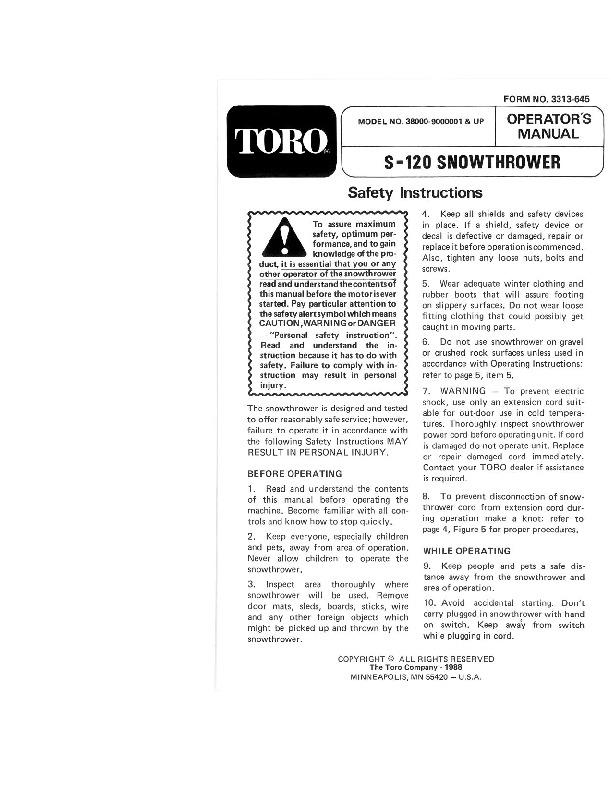Toro 38000 S-120 Snowblower Operators Manual, 1989-1991