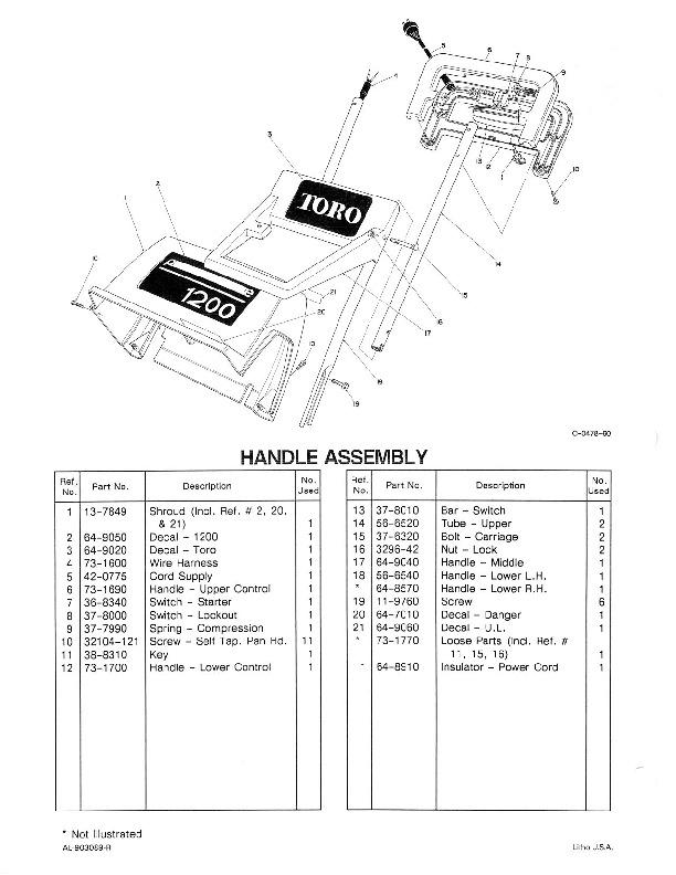 Toro 38005 1200 Power Curve Snowblower Parts Catalog, 1990
