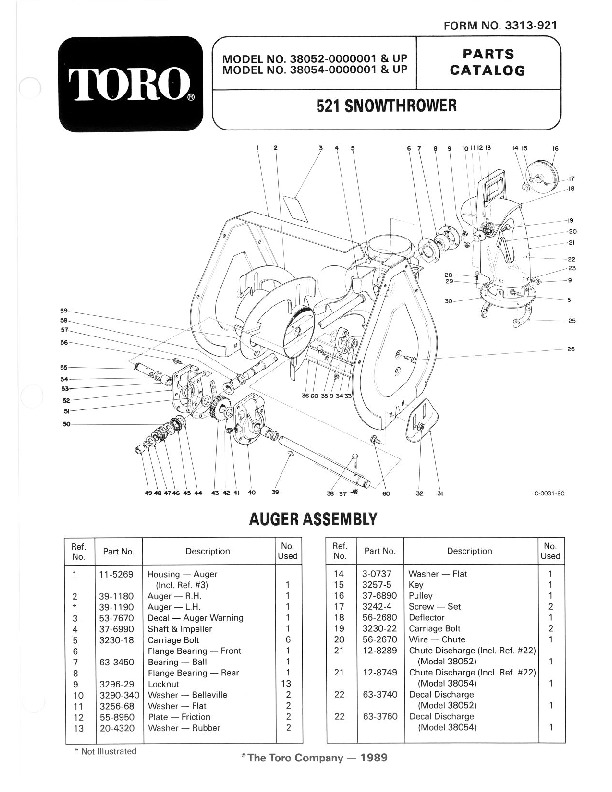 Toro 38054 521 Snowblower Manual, 1990