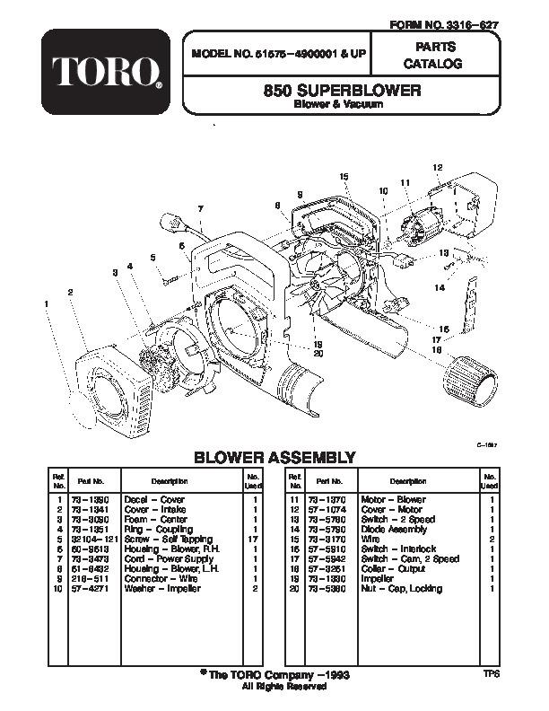Toro 51575 850 Super Blower Parts Catalog, 1994-1995