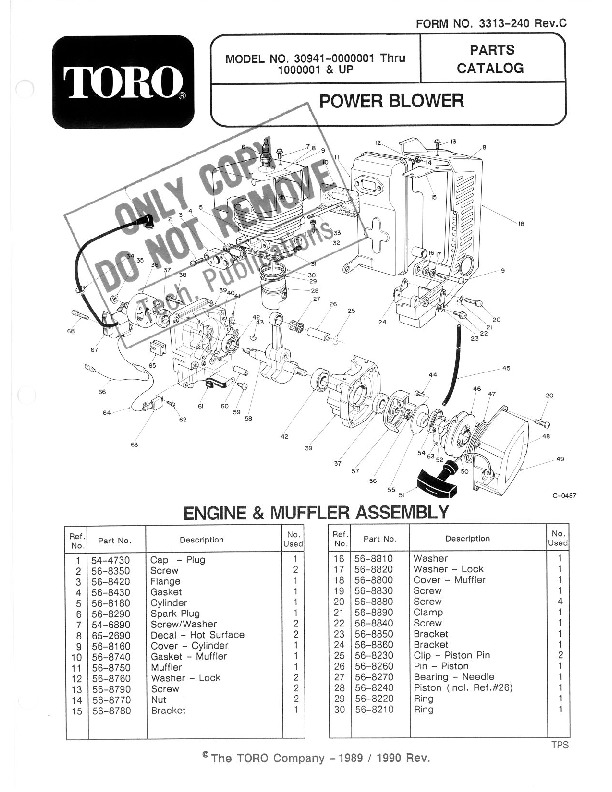 Toro 30941 41cc Back Pack Blower Parts Catalog, 1991-1995