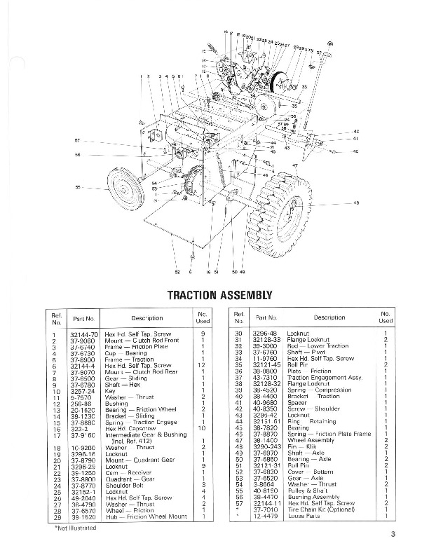 Toro 38052 521 Snowblower Parts Catalog, 1987