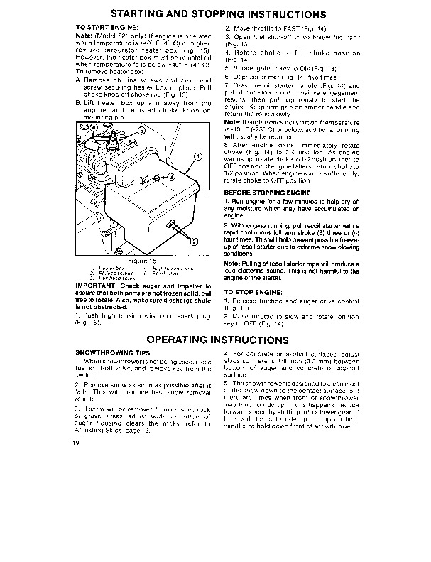 Toro 38052 521 Snowblower Operators Manual, 1987