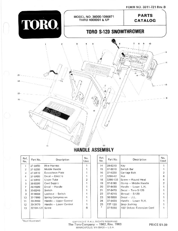Toro 38000 S-120 Snowblower Parts Catalog, 1981-1984