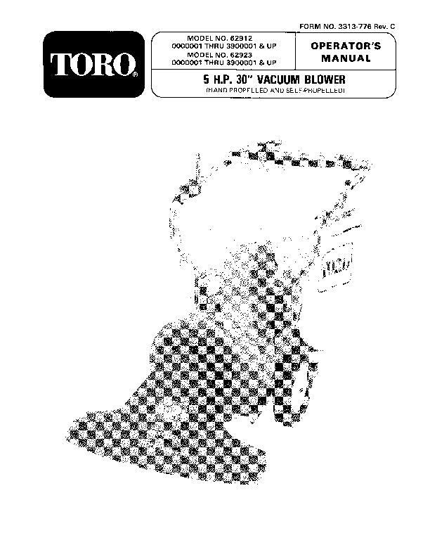 Toro 62912 5 hp Lawn Vacuum Manual, 1990-1992
