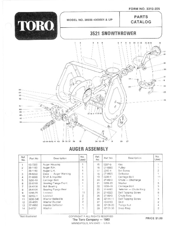 Toro 38050 724 Snowblower Parts Catalog, 1981