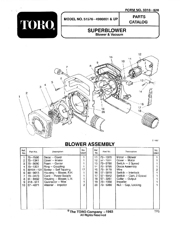 Toro 51576 Super Blower Vac Parts Catalog, 1994