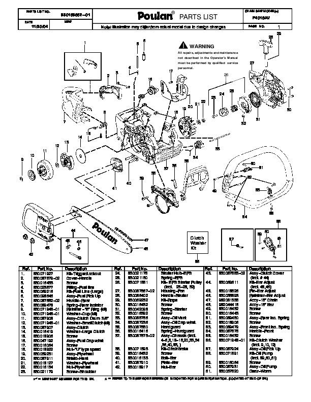 Poulan P4018AV Chainsaw Parts List