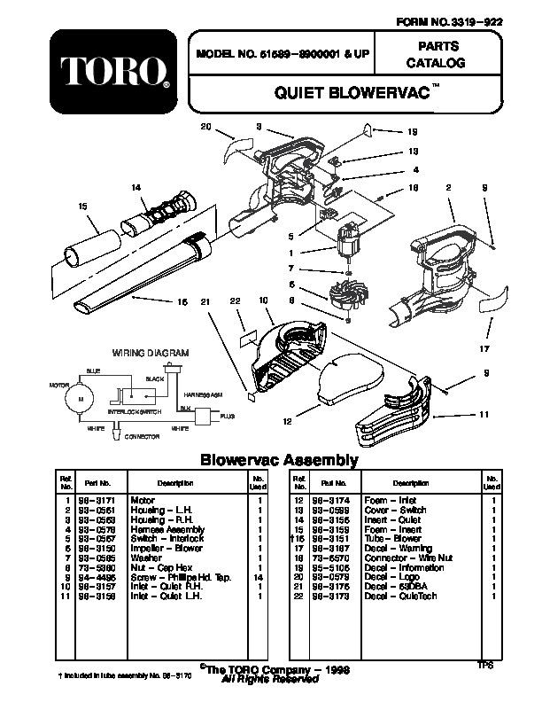 Toro 51589 Quiet Blower Vac Parts Catalog, 1999