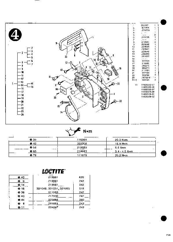 McCulloch Mac 833 835 838 Chainsaw Service Parts List