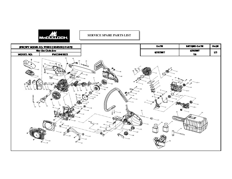 McCulloch 1640BKX Chainsaw Service Parts List