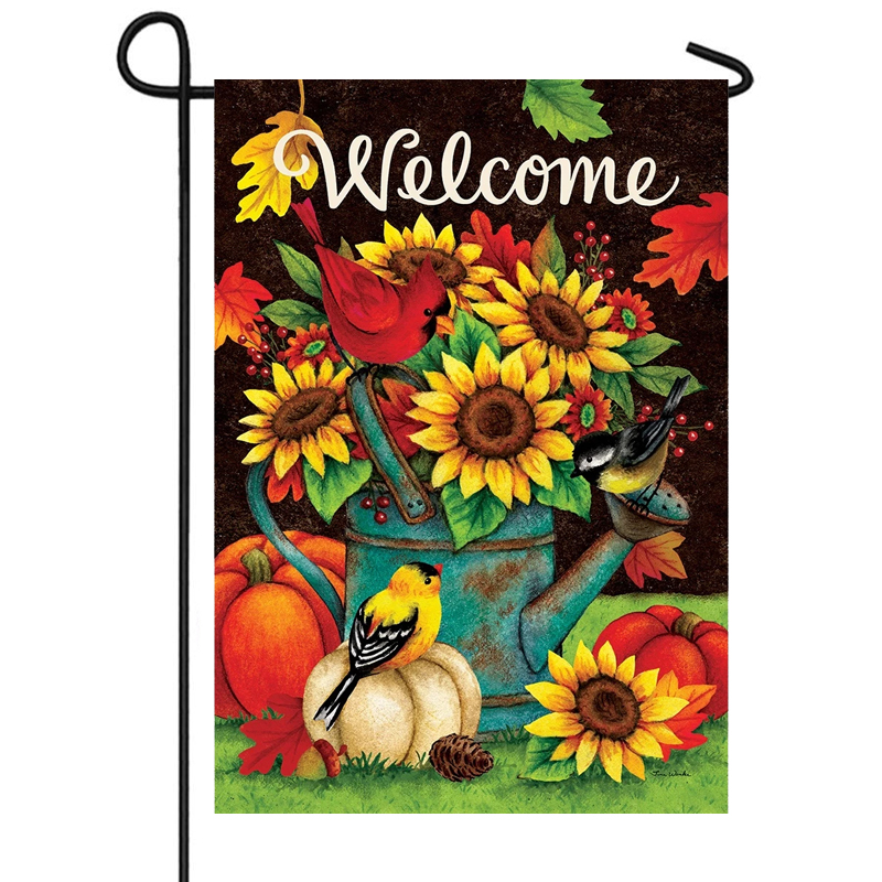 Sunflower Birds Welcome Flags Double Sided Lawn And Garden Flags