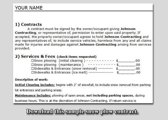 Snow Plow Contract Sample Lawn