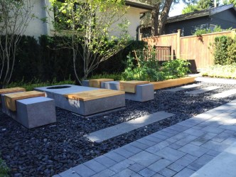 Landscaper Vancouver - Polished concrete fire pit with accoya bench seats