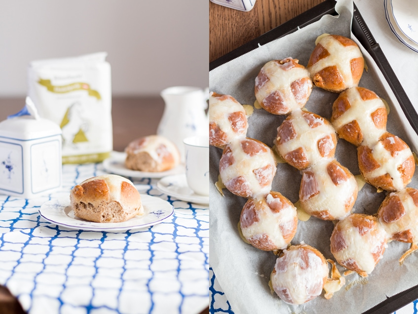 Dinkel-Nuss Hot Cross Buns