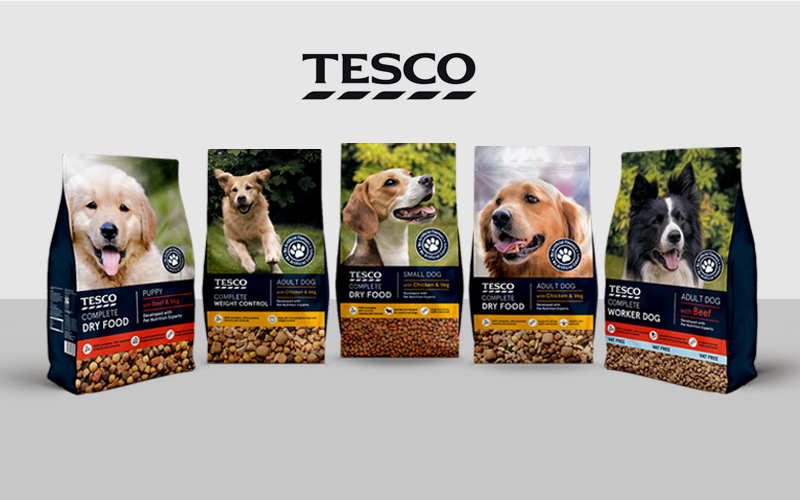 Tesco Complete Dog Food Packaging