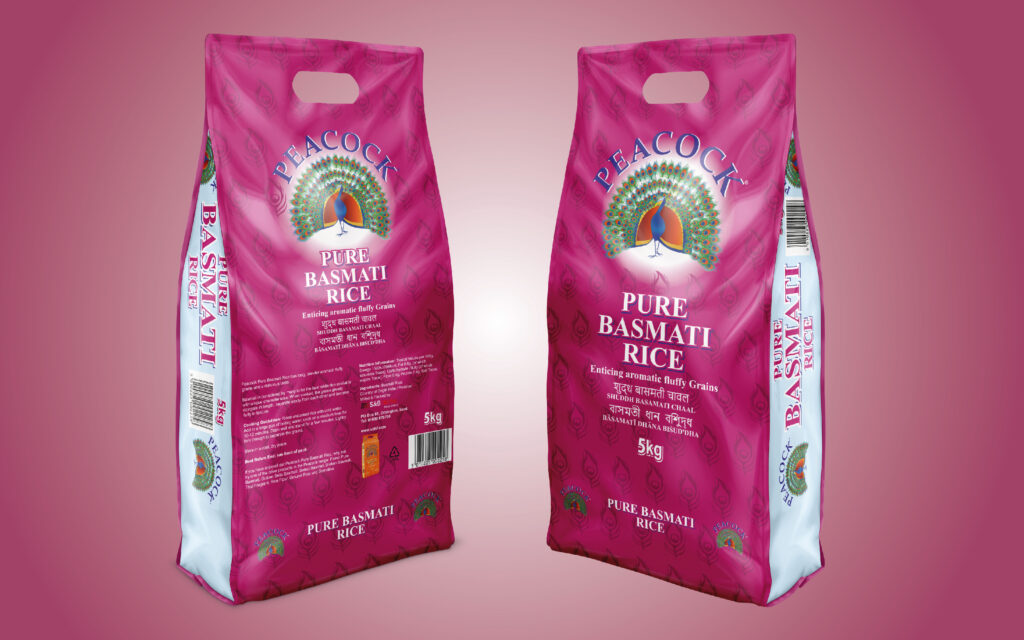 Peacock Basmati Rice Recyclable Bag with Handle