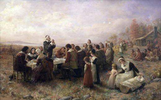 The First Thanksgiving at Plymouth, oil on canvas, 1914 by Jennie Augusta Brownscombe