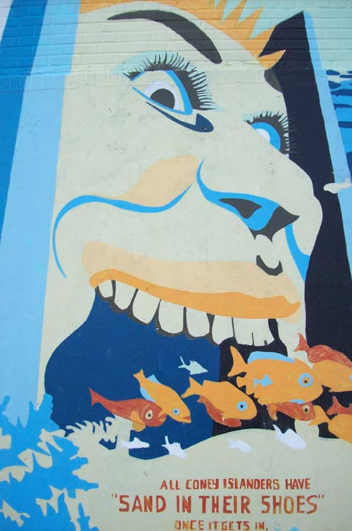 History of Coney Island and Brooklyn Aquarium - mural wall