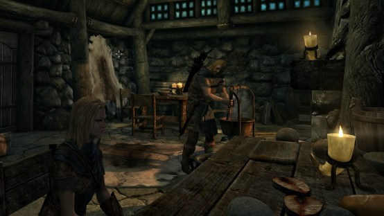 pic of Ralof cooking while Deirdre sits at table in Riverwood