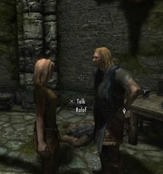 screencap of Deirdre and Ralof