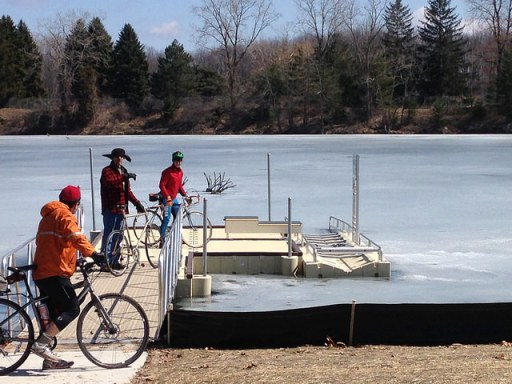 Icy Fidelity Lake, with members of Lansing Bike Party social riding club
