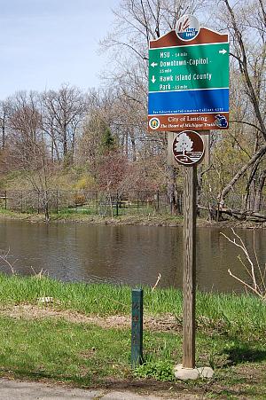 Lansing River Trail sign