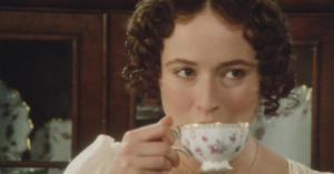 Elizabeth Bennett drinking tea