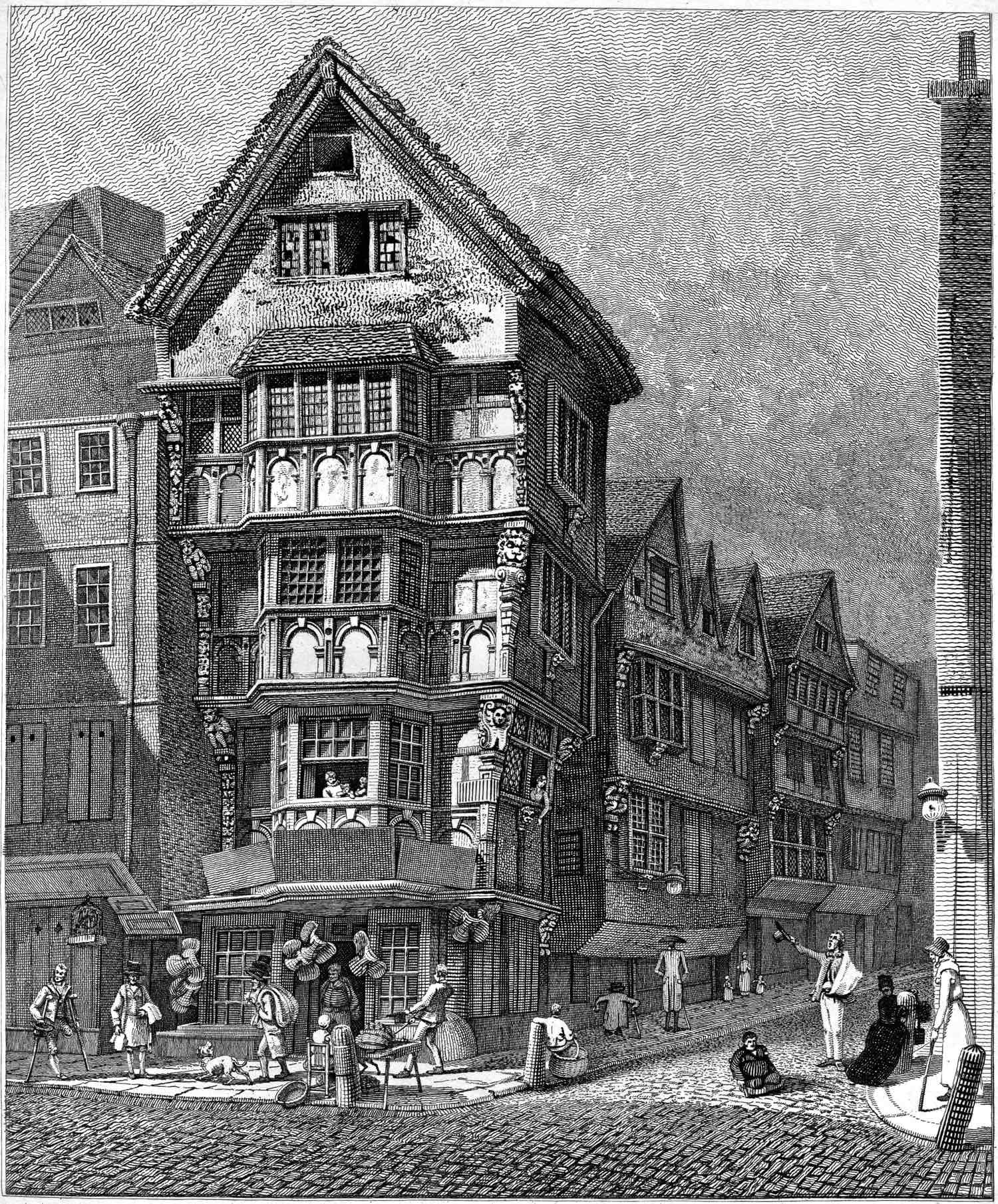 the highwayman s quarry architecture houses on the corner of chancery lane fleet st drawn 1789 taken down 1799