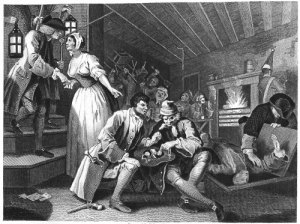 The Thieves Den -18th-c engraving by William Hogarth