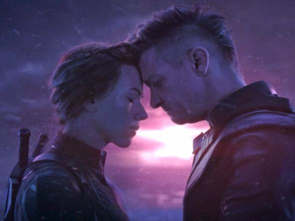Pic of Scarlett Johansson (Nat/Black Widow) and Jeremy Renner (Clint/Hawkeye) from Avengers: Endgame.
