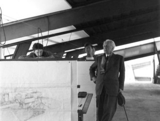Besinger (right) with Frank Lloyd Wright at Taliesin West