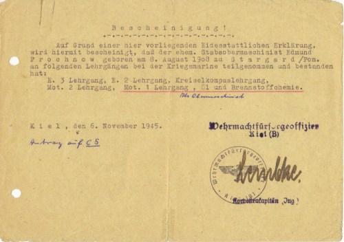 Postwar confirmation of qualifications.