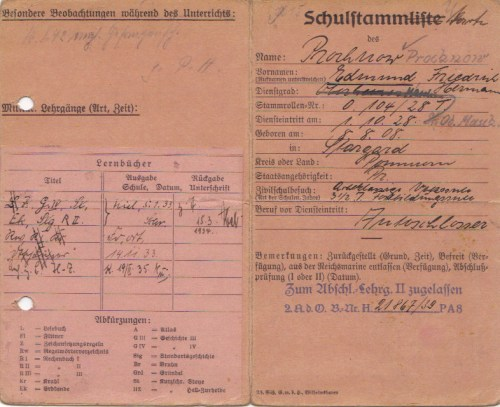 Course record - Schultstammliste - for Eduard Prochnow before the war.