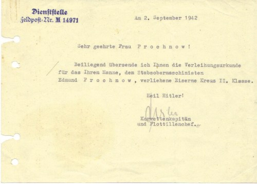 Letter to Frau Prochnow confirming his awrd of the Iron Cross II Class - The Feldpost number M14971 indicates the 7th U-flotilla based in Saint Nazaire.