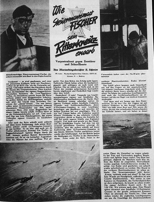 'Die Kriegsmarine' article about the battle and Fischer (top left). Written by Kriegsberichter Ulrich Schreier of the 5. Marine-Kriegsberichter-Kompanie.