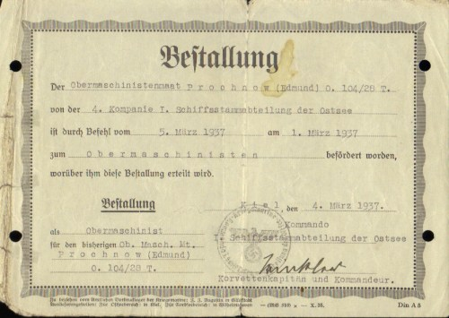 Promotion to Obermaschinisten