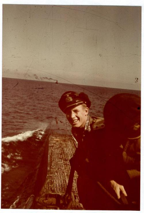 IIWO Leutnant zur See Herbert Waldschmidt photographed as U564 approaches home.