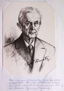 His sketch of Karl Dönitz following the latter's release from prison and signed by him.