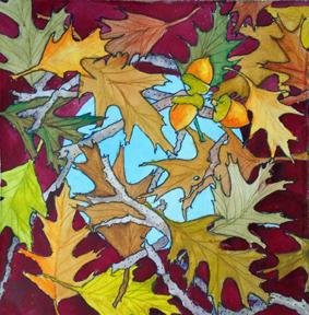 "Laura Whitesides Host, ""Acorn Oak"", watercolor,12 x 12 , $125"