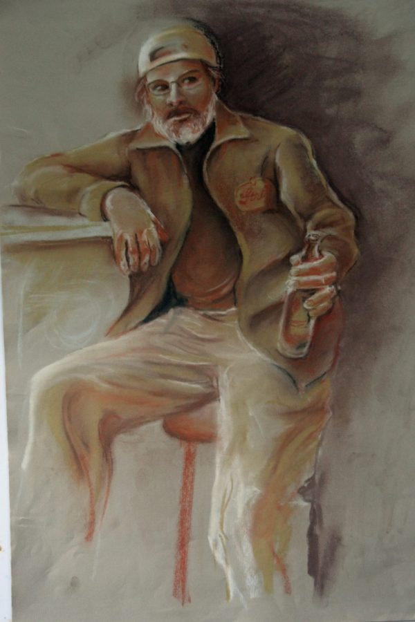 Diane Krempa, It's 9 o'clock and the Regulars are Hustling in, pastel, 30x22, $375
