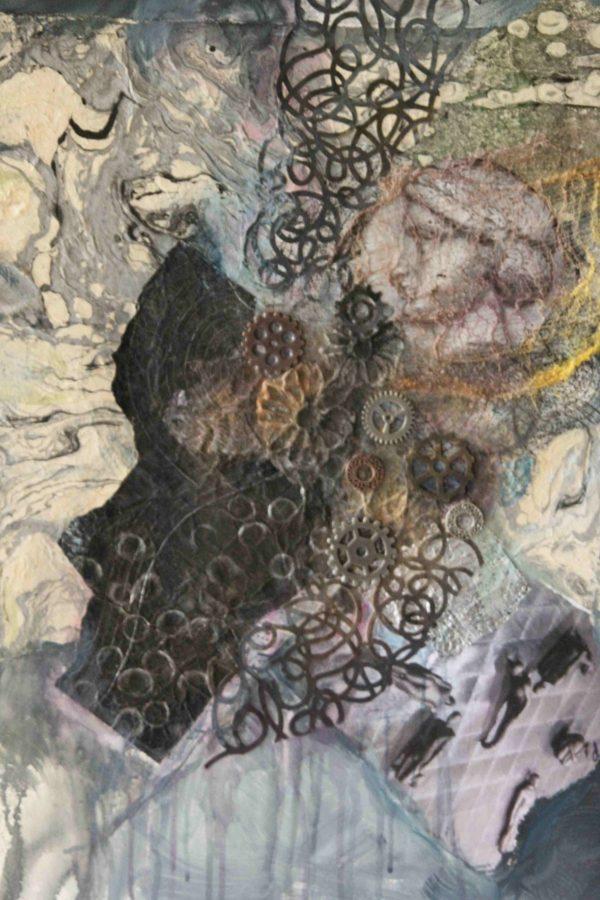 Diane Krempa, Encircling, collage on canvas, 22x28, $375
