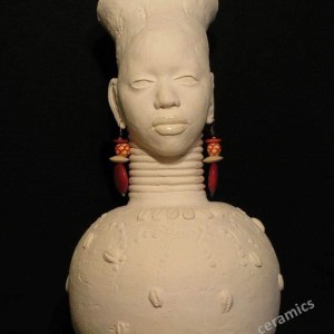 "Pat Simpson, ""Sabrina"", White Stoneware Vessel, 24"" high, 9 across, $1500"